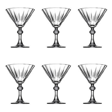 Jogo de taças lapidados em vidro para Martini Pasabahçe Diamond 6 peças 238ml