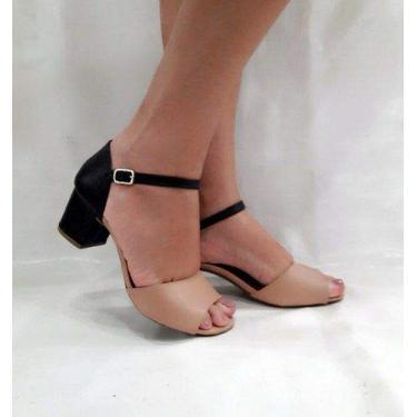 Sandalia Salto Baixo Grosso Creme Preta Bicolor 2 Cores