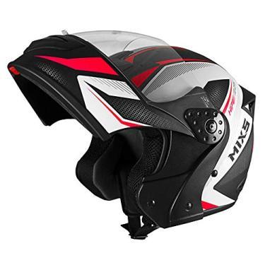 Capacete Mixs Gladiator Neo Brilhante Escamoteavel Articulado Robocop preto com vermelho 56