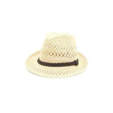 Chapéu Panamá Bege Com Trança 8acbdba971d