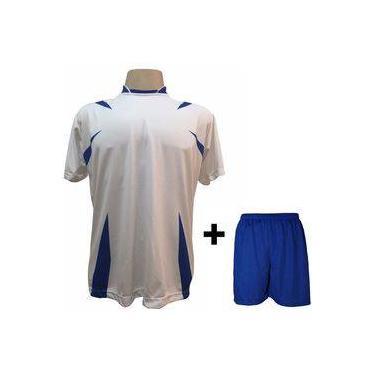 Uniforme Esportivo com 14 camisas modelo Palermo Branco Royal + 14 calções  modelo Madrid + 3d1e936cd50b2