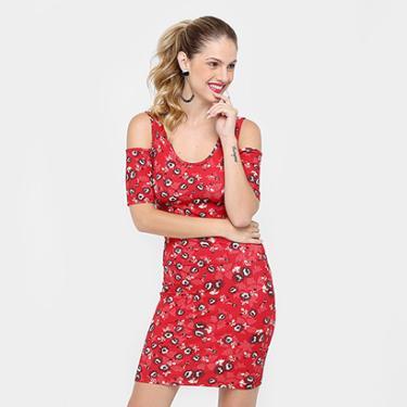 Vestido Colcci Curto Canelado Estampado - Feminino fb16335f16a8a