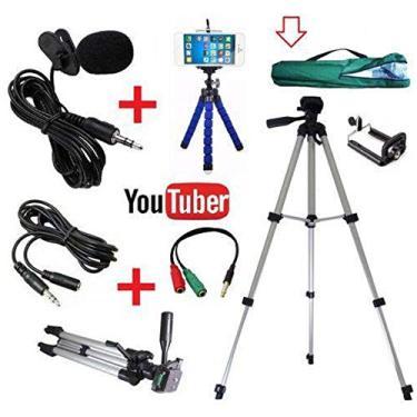 Kit Youtuber Profissional Tripé 1,20m + Microfone De Lapela Para Celular + Extensão 3m + Mini tripé