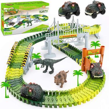 Imagem de Brinquedos de Dinossauro Palotix para meninos de 3 anos, brinquedos de trem de dinossauro pista de corrida 170PCS Dinossauro Mundo Road Race Kids Brinquedos Carro para 3 4 5 6 meninos meninas presentes de aniversário de Natal