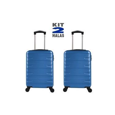 """Imagem de Kit c/ 2 Malas de Bordo c/ 4 Rodinhas 360º (Regulamentação ANAC) Stile 18"""" Azul"""