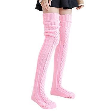 Meias desleixadas, meias femininas de tricô, cano alto, meias longas de inverno, meias de inverno, 02 - Rosa, L