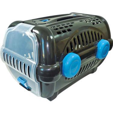 Caixa de Transporte Furacão Pet Luxo Preto com Azul  - Tam. 01