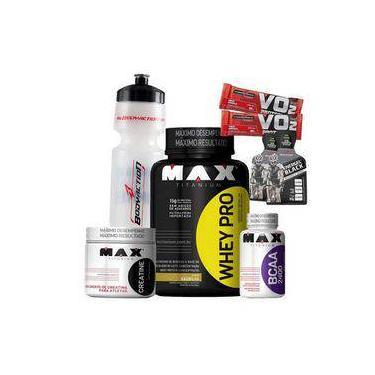 Kit Suplementos Max Titanium Whey Protein Concentrado 1kg + Bcaa + Creatina - Preço Fábrica
