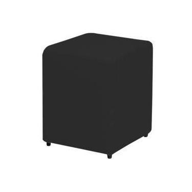 Puff Quadrado Box Couro Ecológico Preto