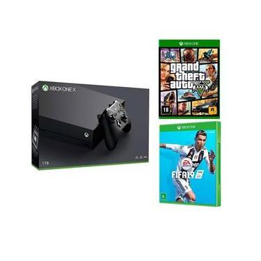 Console Xbox One X 1TB 4K + Fifa 19 + Grand Theft Auto V