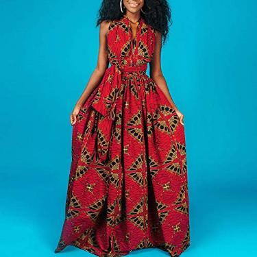 pedkit Mulheres Africano Impresso Vestido Maxi Muti Way Slit Halter Off Shoulder Wraparound Vintage Bohemian dashiki Vestido de Festa Casual Vestido Longo