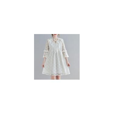 Imagem de Vestido feminino floral de renda 3/4 mangas alargadas decote em V babados em linha plus size vestido casual boho branco
