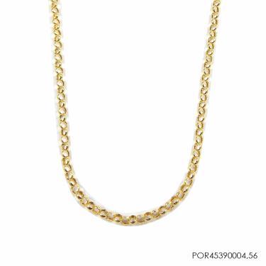 Corrente Portuguesa Ouro 18K 45cmX3,2mmX0,4mm POR45390004-85 - Dourado - 45Cm