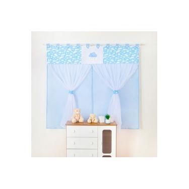 Cortina Para Quarto De Bebê Menino C/ Borsado Nuvem Azul