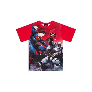 Camiseta Infantil Masculino Batman vs Superman Vermelho - Marlan