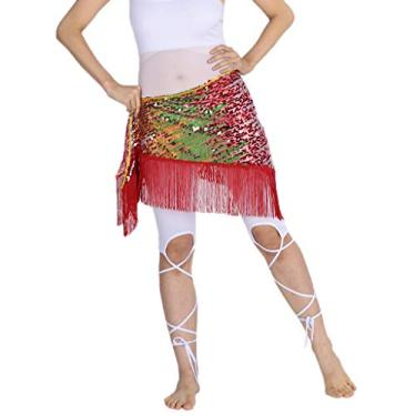 menolana Lantejoulas Femininas Dança Do Ventre Hip Cachecol Hip Saia Cintura Corrente Triângulo Cinto - Vermelho