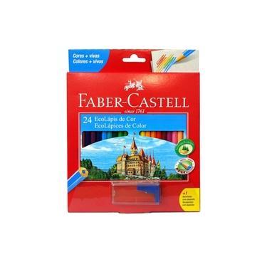 Lápis de Cor Ecolápis 24 Cores Faber Castell + 1 Apontador com Depósito