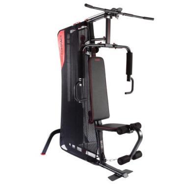 Imagem de Estação de Musculação HG Compact - HG Compact (Home Gym), Cor PRETO/VERMELHO, Tamanho UNICO, Garantia 2 Anos, Domyos