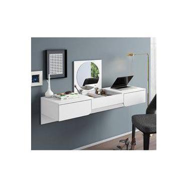 Escrivaninha Penteadeira Suspensa Com Espelho Branco 3003021 Mobler