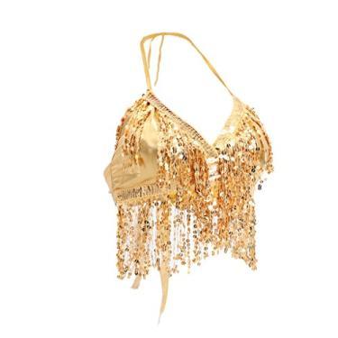 Homyl Sutiã feminino de dança do ventre com lantejoulas, tamanho único, sutiã de dança latina, Dourado, as described
