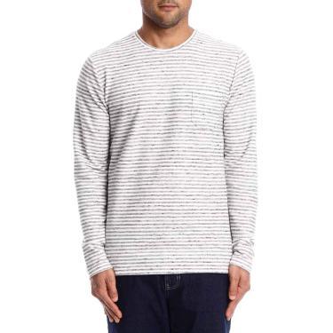 Forum Camiseta Listrada Masculino, P, Mescla grafite/Branco/Preto