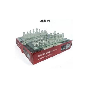 Brinquedo Infantil Jogo de Xadrez 25x25 32 Peças em Vidro