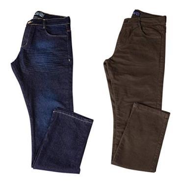 Kit com Duas Calças Masculinas Jeans e Sarja Coloridas com Lycra - Jeans Escuro e Verde - 40