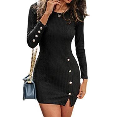 Vestido feminino Fubotevic de malha grossa para o inverno, manga longa, gola redonda, dividido ao corpo, Preto, L