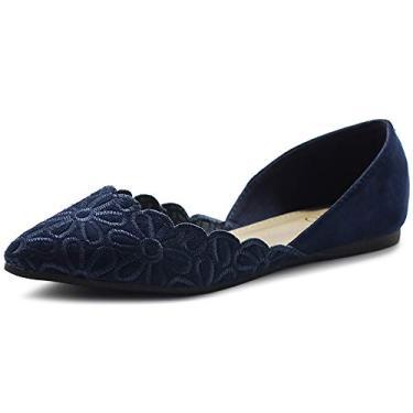 Ollio Sapatos Femininos Camurça Sintética Conforto Floral Bordado Ponta Sapato Sapatilha de Balé F91, Azul marino, 7.5