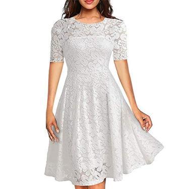 Imagem de Vestido Renda Noiva Festa Casamento Civil Rodado Madrinha (PP, Branco)