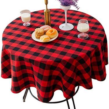 Toalha de mesa JUSTDOLIFE Toalha de mesa decorativa clássica xadrez redonda para casa e restaurante festa