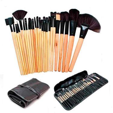 Imagem de Kit 24 Pincéis Maquiagem Pincel Estojo Profissional Blush Marrom