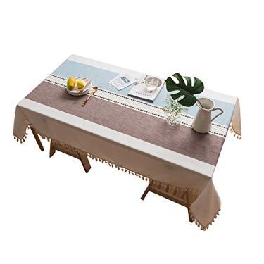 Imagem de MuYiYi11 Toalha de mesa xadrez com borla, capa de mesa para cozinha, sala de jantar, retangular/oblongo, 140 cm x 200 cm, 4-6 assentos 5#