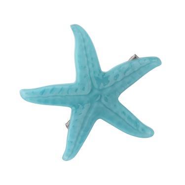 Presilha acrílico estrela mar único Azul claro