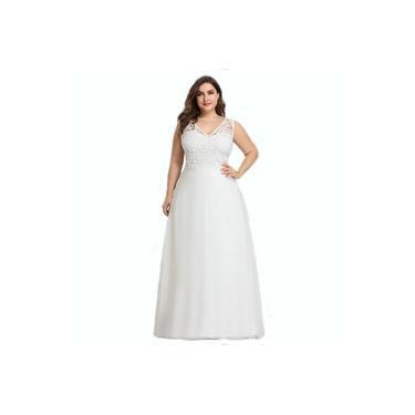 Vestido Noiva Longo Plus Size Festa Renda Casamento Civil