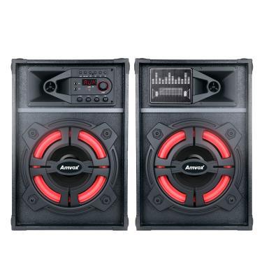 """Caixa De Som Amplificada Amvox Gêmeas Aca 1212 New X Bluetooth, Show De Led, 2 Woofers De 12"""" 850W"""