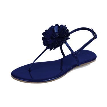 Rasteira Mercedita Shoes Flor Verniz Marinho  feminino
