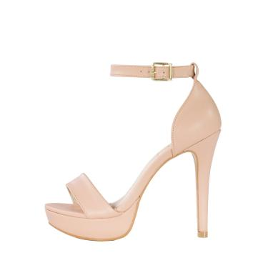 Sandália meia pata Week Shoes minimalista new pele nude  feminino