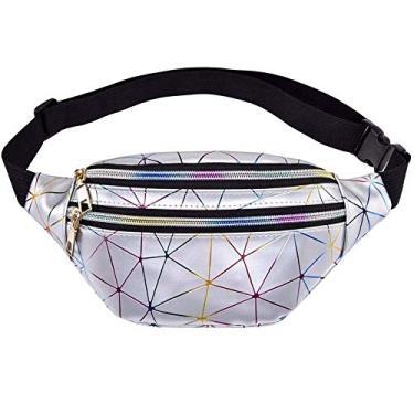 Bestmaple Bolsas de cintura holográficas femininas rosa prata pochete bolsa feminina cinto preto geométrico bolsa para telefone com peito a laser (prata)