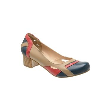 Sapato Feminino Peep Toe Boneca Em Couro Taupe E Azul 3121