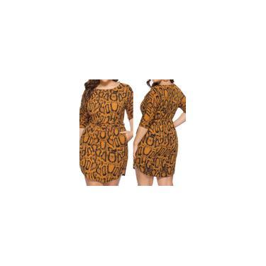 Moda feminina sexy plus size pele de cobra estampado com decote em O vestido meio bodycon
