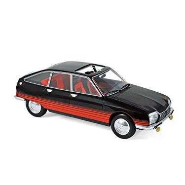 """Imagem de 1978 Citroen GS """"Basalte"""" with Sunroof Open Black and Red Deco 1/18 Diecast Model Car by Norev"""