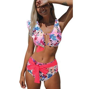 Biquíni feminino Sporlike com babados, cintura alta, duas peças, estampa tropical push up, Floral/Pink, Small