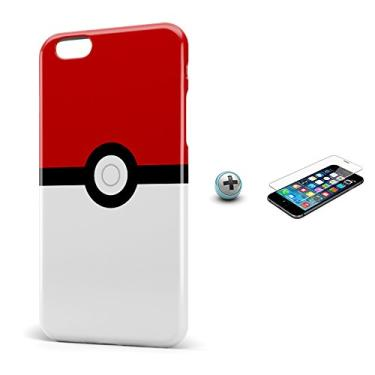 Kit Capa Case TPU iPhone 6/6S Plus Pokeball + Película de Vidro (BD01)