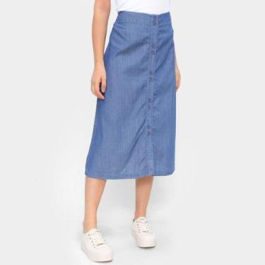 Saia Jeans Influencer Botões Feminina
