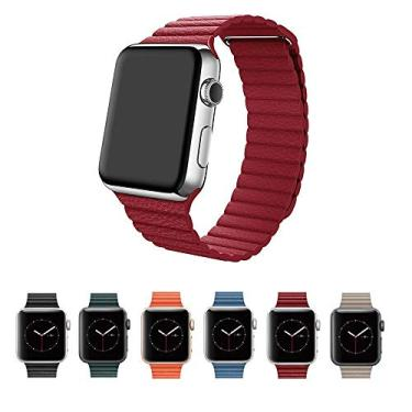 Pulseira Couro Loop para Apple Watch 44mm e 42mm Series 1 2 3 4 5 - Marca Ltimports (Vermelho)