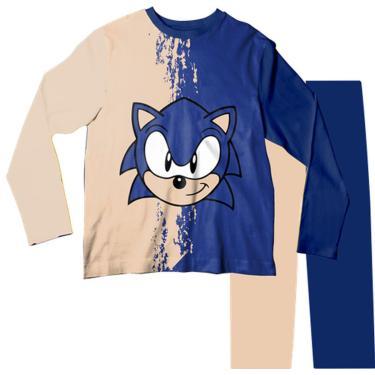 Pijama Infantil Sonic Bege E Azul Pjml