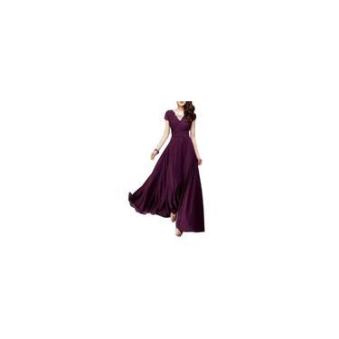 RainmallMulheres V-Neck de manga curta Vestido Bohemian vestido de cintura grande oscilao Vestido