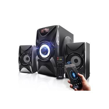 Micro System Caixa de Som 2.1 Bluetooth 3000w PMPO 60w rms USB Mp3 Fm Pc Bivolt