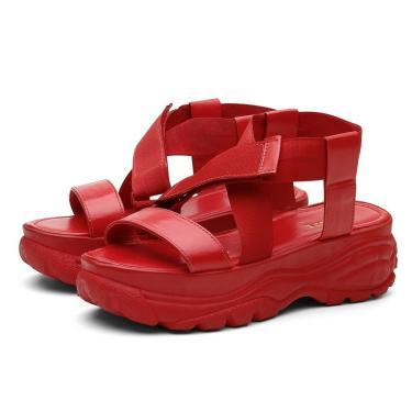 Sandália Papete Manu Chunky  Flatform Casual Vermelho.  feminino